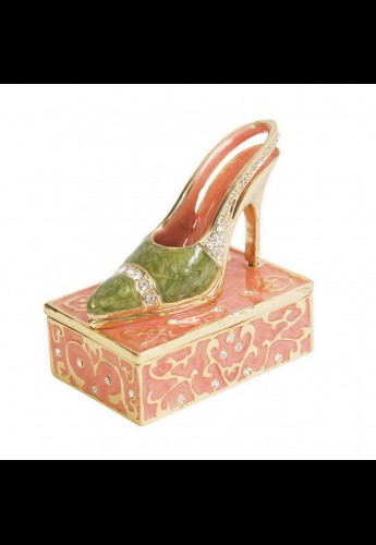 High Heel Shoe in Peach and Green