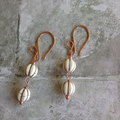 Deux White Earrings