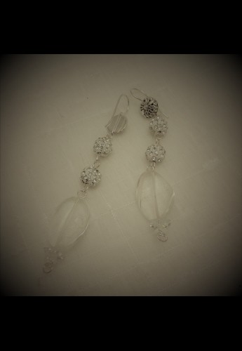 Pave Flower Quartz Earrings