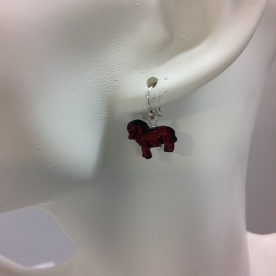 Red Bone Horse Earrings