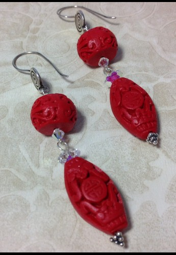 Star of Cinnabar Earrings
