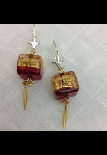 Burgundy Cube Earrings