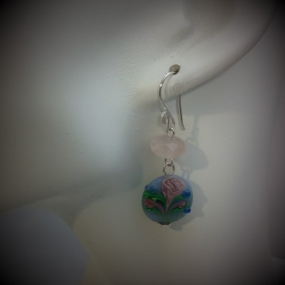 Pink Rose Murano Earrings