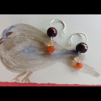 Carnelian Chocolate Pearls Earrings