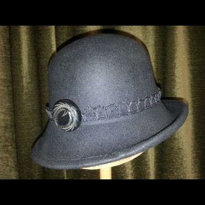 Steel gray cloche with Bakelite button
